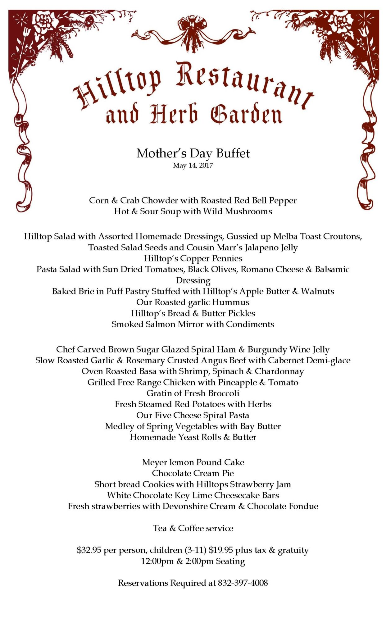 Mother's Day Buffet Menu