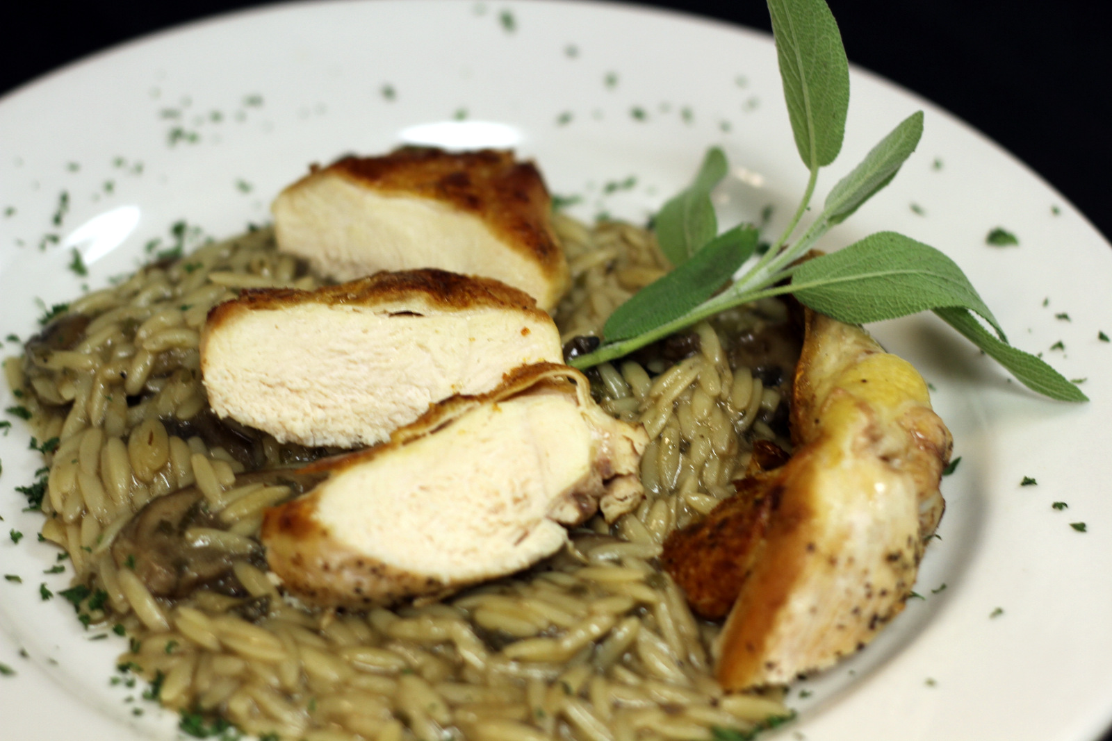 grilled chicken breasts on rice pilaf