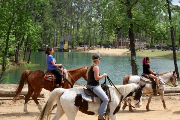 horseback riding at swim lake